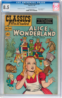Classics Illustrated #49 Alice in Wonderland Original Edition (Gilberton, 1948) CGC VF+ 8.5 Off-white to white pages