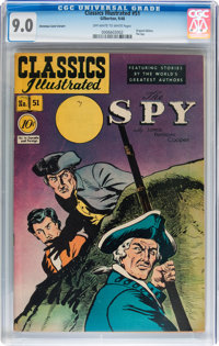 Classics Illustrated #51 The Spy - Variant 1A (Gilberton, 1948) CGC VF/NM 9.0 Off-white to white pages