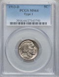 Buffalo Nickels: , 1913-D 5C Type One MS64 PCGS. PCGS Population (1021/1116). NGCCensus: (658/687). Mintage: 5,337,000. Numismedia Wsl. Price...