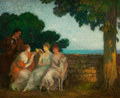 Fine Art - Painting, European:Modern  (1900 1949)  , MICHEL SIMONIDY (Romanian, 1870-1933). Three Maidens in Gardenwith Dog and Standing Gentleman, 1905. Oil on panel. 19 x...