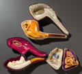 Decorative Arts, Continental, THREE EXOTIC FEMALE MEERSCHAUM PIPES WITH ORIGINAL CASES. Late 19thcentury. 7 inches long (17.8 cm) (longest). ... (Total: 3 Items)
