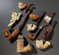 EIGHT MEERSCHAUM AND TWO CARVED WOOD PIPES Late 19th century 15 inches long (38.1 cm) (longest)