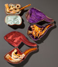 Decorative Arts, Continental, THREE EROTIC MEERSCHAUM PIPES WITH ORIGINAL CASES. Late 19thcentury. 5-1/2 inches long (14.0 cm) (longest). ... (Total: 3Items)