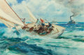 Fine Art - Painting, American:Other , JAMES MILTON SESSIONS (American, 1882-1964). Sailing on OpenWaters (The Race). Watercolor on paper. 18-1/2 x 28 inches ...