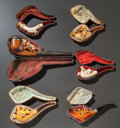 Decorative Arts, Continental, SIX FIGURAL MEERSCHAUM PIPES WITH ORIGINAL CASES. Late 19thcentury. 9 inches long (22.9 cm). ... (Total: 6 Items)