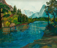 RITA HOFFMAN SHULAK (American, 20th Century) Blue Sierra (Sierra Mountains on the River) Oil on canv