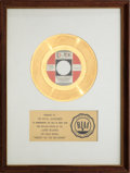 "Music Memorabilia:Awards, The Royal Guardsmen ""Snoopy Vs. The Red Baron"" RIAA Gold RecordAward (1966)...."