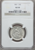 Seated Quarters, 1861 25C AU50 NGC. NGC Census: (8/486). PCGS Population (33/484).Mintage: 4,854,600. Numismedia Wsl. Price for problem fre...