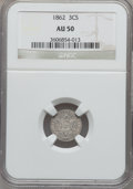 Three Cent Silver: , 1862 3CS AU50 NGC. NGC Census: (5/1041). PCGS Population (22/1068).Mintage: 343,000. Numismedia Wsl. Price for problem fre...