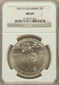 Modern Issues: , 1992-D $1 Columbus Silver Dollar MS69 NGC. NGC Census: (1277/305).PCGS Population (1799/146). Mintage: 106,949. Numismedia...