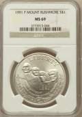 Modern Issues: , 1991-P $1 Mount Rushmore Silver Dollar MS69 NGC. NGC Census:(1126/509). PCGS Population (1834/317). Mintage: 133,139. Numi...