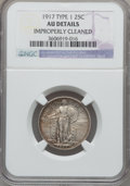 Standing Liberty Quarters: , 1917 25C Type One -- Improperly Cleaned -- NGC Details. AU. NGCCensus: (46/1436). PCGS Population (62/2127). Mintage: 8,74...