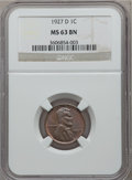 Lincoln Cents: , 1927-D 1C MS63 Brown NGC. NGC Census: (35/55). PCGS Population(58/70). Mintage: 27,170,000. Numismedia Wsl. Price for prob...