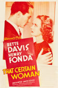 """Movie Posters:Drama, That Certain Woman (Warner Brothers, 1937). One Sheet (27"""" X 41"""")....."""