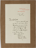 Autographs:Artists, Edmund Joseph Sullivan, British Book Illustrator. Autograph Letter Signed. Horizontal crease. Mounted to heavy paper. Near f...