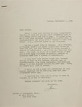 Autographs:Celebrities, Joseph P. Kennedy, Sr., American Businessman and Ambassador, andFather to John and Robert. Typed Letter Signed. Two horizon...