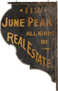 Advertising:Signs, Ornamental Sign for Texas Ranger June Peak's Dallas Real EstateOffice. ...