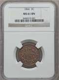 Two Cent Pieces: , 1866 2C MS61 Brown NGC. NGC Census: (6/178). PCGS Population(5/125). Mintage: 3,177,000. Numismedia Wsl. Price for problem...