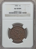 Large Cents: , 1853 1C AU58 NGC. NGC Census: (135/909). PCGS Population (76/530).Mintage: 6,641,131. Numismedia Wsl. Price for problem fr...