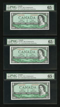 Canadian Currency: , BC-37bA $1 1954 Replacement, Three Consecutive Examples. ...(Total: 3 notes)
