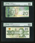 "Canadian Currency: , BC-58a-ii $20 1991 with ""Radar"" Serial Number 3300033. BC-64a $202004 with ""Radar"" Serial Number 0999990. ... (Total: 2 notes)"