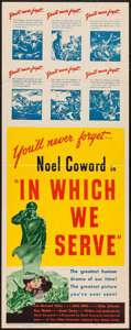 "Movie Posters:War, In Which We Serve (United Artists, 1942). Insert (14"" X 36""). War....."