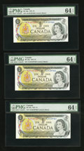 Canadian Currency: , BC-46a-i $1 1973 Three Consecutive Examples. ... (Total: 3 notes)