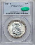 Franklin Half Dollars: , 1954-S 50C MS66 PCGS. CAC. PCGS Population (201/1). NGC Census:(389/8). Mintage: 4,993,400. Numismedia Wsl. Price for prob...