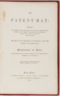 Books:Americana & American History, [Americana]. Ellis Ballou [Philo]. The Patent Hat: Designed toPromote the Growth of Certain Undeveloped Bumps, and Ther...