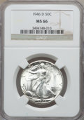 Walking Liberty Half Dollars: , 1946-D 50C MS66 NGC. NGC Census: (2179/113). PCGS Population(1834/50). Mintage: 2,151,000. Numismedia Wsl. Price for probl...