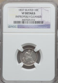 Seated Dimes: , 1837 10C No Stars, Large Date -- Improperly Cleaned -- NGC Details.VF. NGC Census: (2/405). PCGS Population (9/378). Minta...