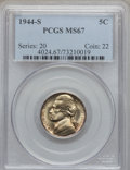 Jefferson Nickels: , 1944-S 5C MS67 PCGS. PCGS Population (116/0). NGC Census: (1610/3).Mintage: 21,640,000. Numismedia Wsl. Price for problem ...