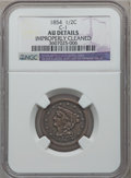 Half Cents: , 1854 1/2 C -- Improperly Cleaned -- NGC Details. AU. C-1. NGCCensus: (6/521). PCGS Population (34/427). Mintage: 55,358. ...