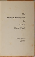 Books:Literature Pre-1900, [Oscar Wilde]. The Ballad of Reading Goal by C.3.3. LeonardSmithers, 1899. Pirated edition. Quarter vellum bind...