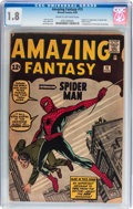 Silver Age (1956-1969):Superhero, Amazing Fantasy #15 (Marvel, 1962) CGC GD- 1.8 Cream to off-whitepages....