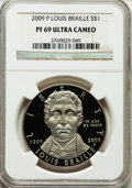 Modern Issues, 2009-P $1 Braille PR69 Ultra Cameo NGC. NGC Census: (3687/560).PCGS Population (1570/118). Numismedia Wsl. Price for prob...