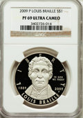 Modern Issues, 2009-P $1 Braille PR69 Ultra Cameo NGC. NGC Census: (3687/560). PCGS Population (1570/118). Numismedia Wsl. Price for prob...