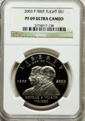 Modern Issues: , 2003-P $1 First Flight Silver Dollar PR69 Ultra Cameo NGC. NGCCensus: (2685/197). PCGS Population (1785/69). Numismedia W...