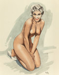 Pin-up and Glamour Art, ALAIN ASLAN (French, b. 1930). Kim Novak. Pencil andwatercolor on board. 10.5 x 13.5 in. (image). Signed lower right....