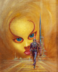 Pulp, Pulp-like, Digests, and Paperback Art, FRANK KELLY FREAS (American, 1922-2005). The Hard Way Up, AceDouble edition paperback cover, 1972. Mixed media on burla...