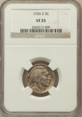Buffalo Nickels: , 1926-S 5C VF25 NGC. NGC Census: (195/692). PCGS Population(153/841). Mintage: 970,000. Numismedia Wsl. Price for problem f...