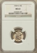 Mercury Dimes: , 1929-S 10C MS63 NGC. NGC Census: (23/176). PCGS Population(33/201). Mintage: 4,730,000. Numismedia Wsl. Price for problem ...