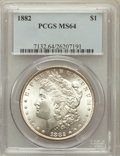 Morgan Dollars: , 1882 $1 MS64 PCGS. PCGS Population (4866/1473). NGC Census:(6318/1411). Mintage: 11,101,100. Numismedia Wsl. Price for pro...