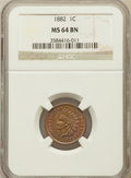 Indian Cents: , 1882 1C MS64 Brown NGC. NGC Census: (99/84). PCGS Population(51/28). Mintage: 38,581,100. Numismedia Wsl. Price for proble...