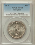 Commemorative Silver: , 1925 50C Lexington MS64 PCGS. PCGS Population (1807/1337). NGCCensus: (1831/1102). Mintage: 162,013. Numismedia Wsl. Price...