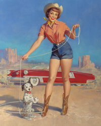 WILLIAM MEDCALF (American, 20th Century) Cowgirl with Her Star Puppy Oil on canvas 36 x 29 in
