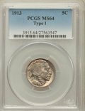 Buffalo Nickels: , 1913 5C Type One MS64 PCGS. PCGS Population (3589/5474). NGCCensus: (2083/3884). Mintage: 30,993,520. Numismedia Wsl. Pric...