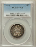 Bust Quarters: , 1833 25C VF25 PCGS. PCGS Population (9/167). NGC Census: (9/151).Mintage: 156,000. Numismedia Wsl. Price for problem free ...