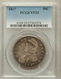 Bust Half Dollars: , 1817 50C VF25 PCGS. PCGS Population (34/543). NGC Census: (16/396).Mintage: 1,215,567. Numismedia Wsl. Price for problem f...