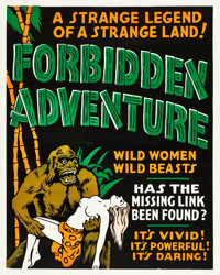 "Forbidden Adventure (Sonney Productions, 1937). Silk Screen One Sheet (28"" X 35.5). Alternate Titles: The Gorilla W..."